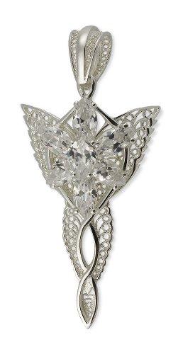 Herr der Ringe Arwens Abendstern Filigran 3001-002 - Collar de mujer de plata de ley con 7 circonitas, 6 cm