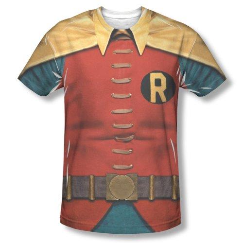 Mens BATMAN CLASSIC TV Short Sleeve ROBIN COSTUME XLarge T-Shirt Tee