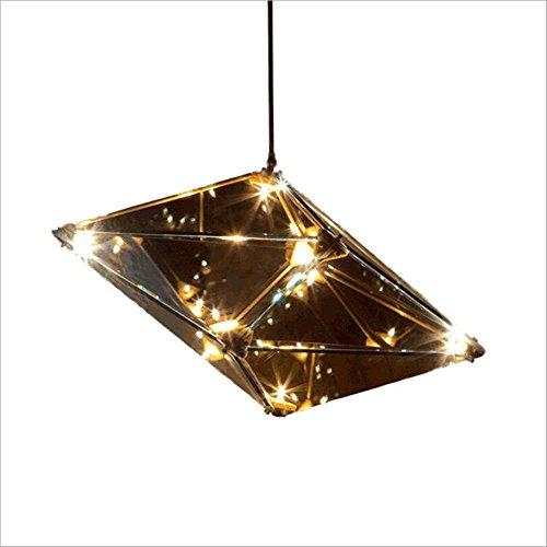 Suspensions Lampe en verre post-moderne Lustre de personnalité créative Restaurant Salon Hôtel art Hammer Lantern Diamant géométrie Diamant café lustre, B