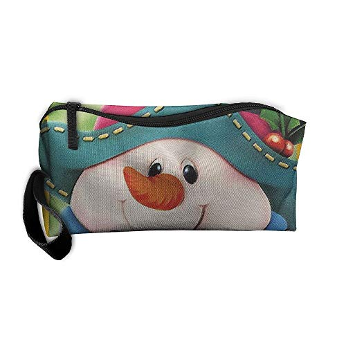 8db8195f83d6 Portable Outdoor Cosmetic Toiletry Clutch Bag Merry Christmas Snowman  Storage Pouch Pencil Case