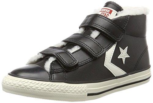 Converse Unisex-Kinder Star Player EV 3V Mid Black/Egret Hohe Sneaker, Schwarz (Black), 30 EU (Schuhe Converse Jungen)