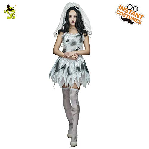 GAOGUAIG AA Adult Sexy Hot Brige Halloween Kostüm Zombie Corpse Scary Bride Kostüme In Maske for Cosplay SD (Color : Onecolor, Size : - Corpse Bride Kostüm Kinder