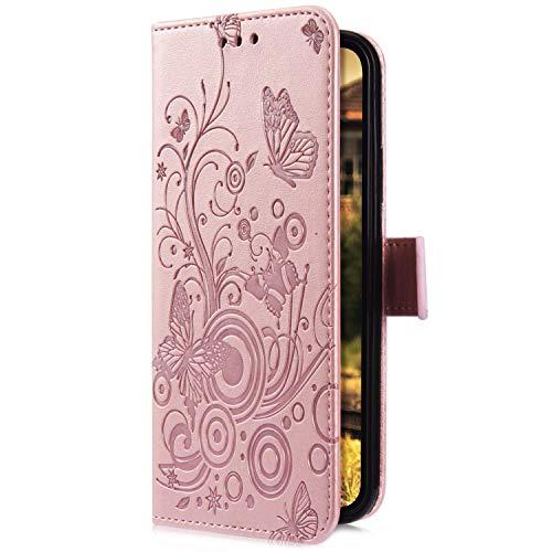 Uposao Kompatibel mit iPhone 7 Plus/iPhone 8 Plus Handyhülle Hülle Flipcase Schmetterling Blumen Muster Flip Wallet Schutzhülle Bookstyle Leder Tasche Klapphülle Case Magnet Kartenfach,Rose Gold