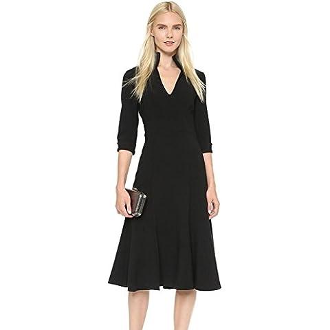 Vestidos negros de moda Slim mangas recortadas , black , l