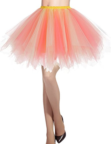 Dresstells Damen Tüllrock 50er rockabilly Petticoat Tutu Unterrock Kurz Ballett Tanzkleid Ballkleid Abendkleid Gelegenheit Zubehör Coral-champagne L (Günstige Ballett Tanz Kostüme)