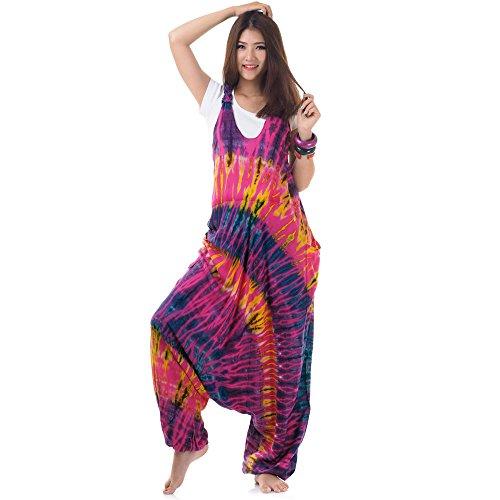 Hippie Batik Jumper Hose Haremshose Overall Baumwolle 38 40 42 44 S M L (Pink) Hippie-batik