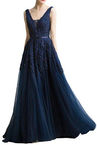 Milano Bride Damen Huebsch V-Ausschnitt Abendkleid Tuell Ballkleider Promkleider Spitze Applikation Band Lang-46-Dunkelblau (Tüll Prom Abendkleider)