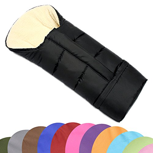BAMBINIWELT Winterfusssack in Mumienform für Kinderwagen, Jogger, Buggy oder Schlitten, aus Wolle, Größe anpassbar, MUMIE UNI SCHWARZ