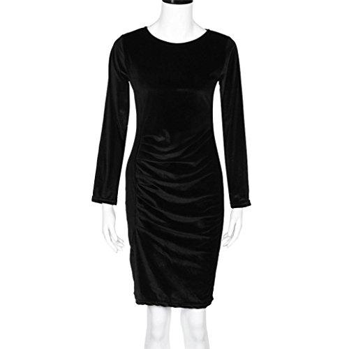 Lolittas Femmes Velours à Manches Longues Robe Casual SoiréE Mini Robe Noir