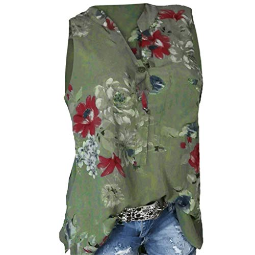 asual Druck T-Shirts Tasche Plus Size Kurzarm V-Ausschnitt Button Bluse ()