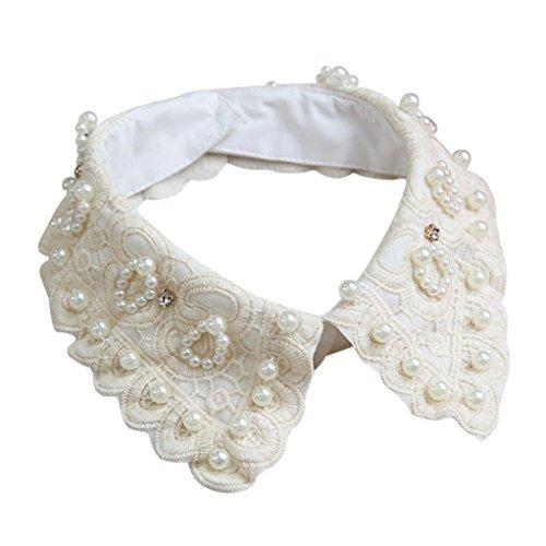 TUDUZ Abnehmbare Revers Bluse Fake Collar Halb Hemdbluse Kragen mit Verstellbaren Elastischen Bändern Choker Halskette für Frauen Mädchen (F)