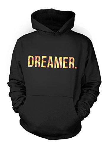 Dreamer Motivation Herren Hoodie Sweatshirt Schwarz Medium