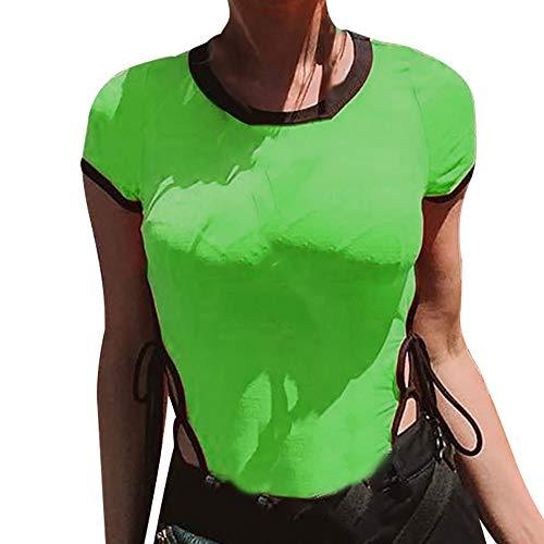 FIRSS-BH Damen Body Rundhals Babydoll Bodysuit Reizwäsche Kurzarm Elegant Strampler Basic Overalls Playsuit Elastisch Damenbody Stringbody Einteiler Unterwäsche Hemdbluse S - 4