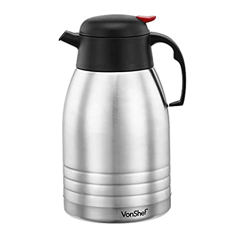 VonShef 2 Litre Vacuum Jug Flask Insulated Double Walled Stainless