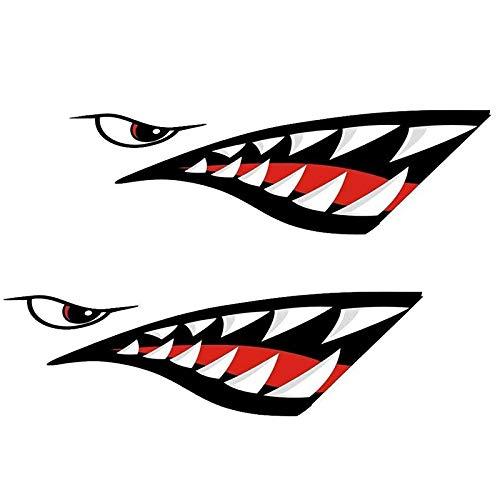 Cikuso Impermeable 2 Piezas Calcomanía De Boca De Dientes De Tiburón Pegatinas para Kayak Bote Bote Barco Pegatinas Duraderas Decoración De La Ventana De Coche Casa