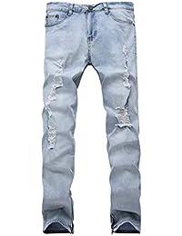 0fa45a85b859c Pantalon Denim Homme Coupe Slim Jeans Trenchs Holes Único Vintage Broken  Cher Jeans Pantalon Droit Denim