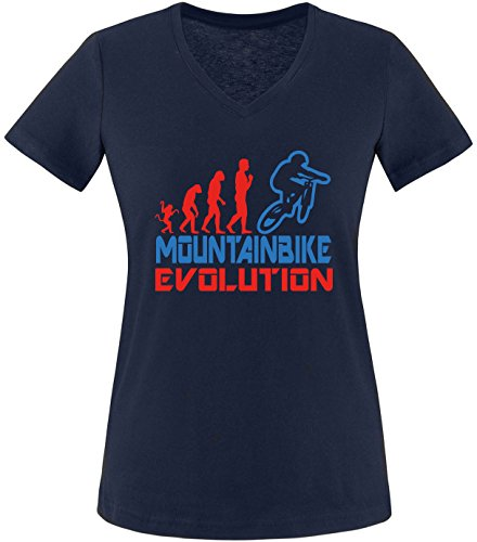 EZYshirt® Mountainbike Evolution Damen V-Neck T-Shirt Navy/Rot/Blau