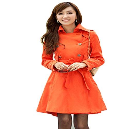 Tonsee® Mode féminine Slim Fit Trench double boutonnage Manteau Manteaux Veste Sapphire (L, Noir) Orange