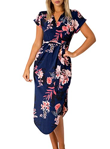 Cindeyar Damen Sommerkleider Kurzarm V-Ausschnitt Lange Kleider Sommer Elegantes Strandkleid (Dunkelblau, S)