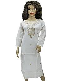 Ratnatraya Cotton White Kurti For Women | Party Wear Designer Straight Kurtis For Girls And Gift