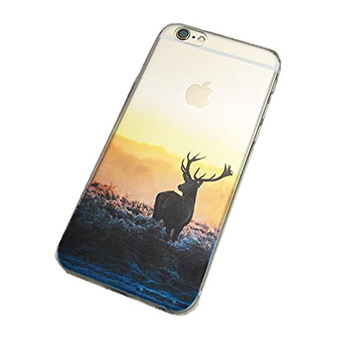 Jinberry Colorate Custodia Protettiva in TPU Morbida per iPhone6 (4.7) Dipinto Ultrasottile 0.5mm Case Back Cover con Protezione Tappi Polvere Apple iPhone 6 - Faro Cervo