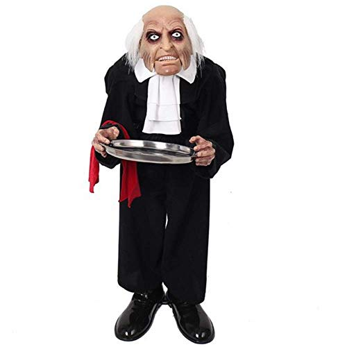 Kostüm Halloween Beängstigend Einfach - JZFUKSP Halloween Standing Witch Housekeeper Dekorationen - Elektro Horror Requisiten Spielzeug mit leuchtenden Augen für Haunted House, Bar Prop Decor, 42 Zoll