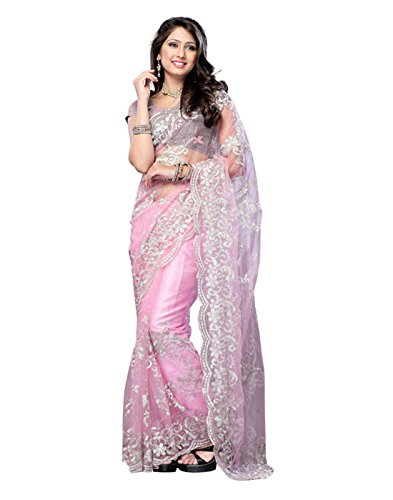 Best Selling Sari by NEW PHASE of Pink Colour and Net Fabric with Embroidered work of Silver Jari supplied with Pink Color and Satin Fabric Unstiched Blouse. This saree is of length of 5.5 meter and i