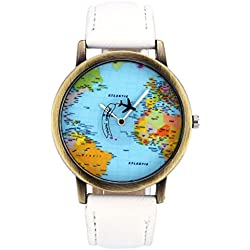 JSDDE Fashion Airplane World Map Watch With Retro Bronze Case White Canvas Veins PU Leather Band