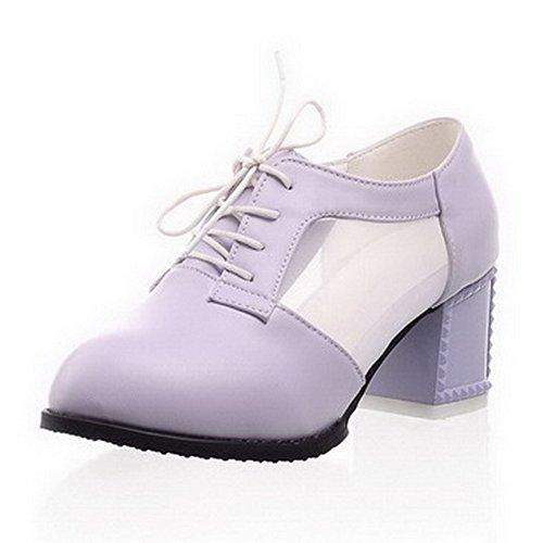 Damen Mittler Absatz Rein Schnüren Weiches Material Rund Zehe Pumps Schuhe, Pink, 38 VogueZone009