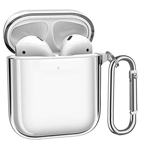 ATUMTEK AirPods Hülle TPU AirPods Case, Glasklare AirPods Schutzhülle Kompatibel mit Apple AirPods 1/2 Kabellose Ladehülle mit Karabinerhaken/Schlüsselanhänger [Front LED Sichtbar] - Transparent