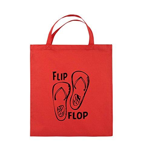 Comedy Bags - FLIP FLOP - SCHUHE - Jutebeutel - kurze Henkel - 38x42cm - Farbe: Rot / Schwarz (Alpha Flip-flops)