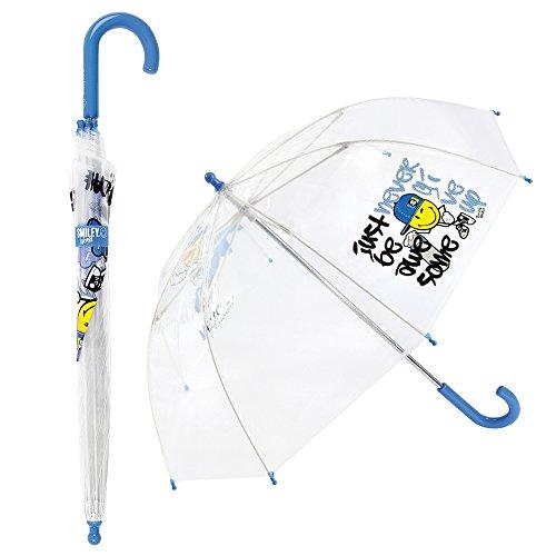 Smiley - Paraguas Infantil Transparente para niño - Cúpula - Antiviento - Manual - Azul