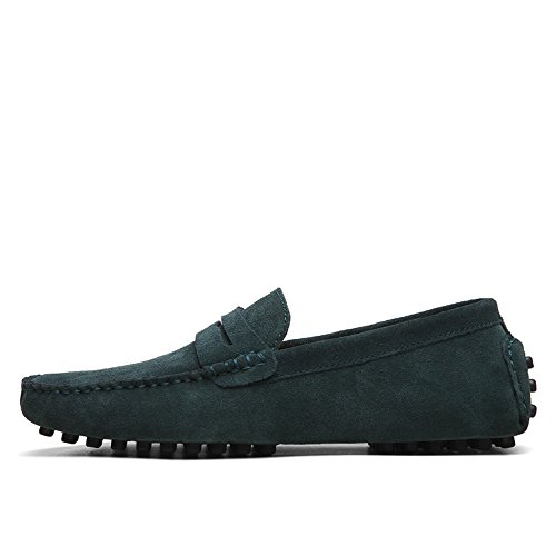 MXL Herren Driving Penny Loafers Wildleder echtes Leder Casual Mokassins Slip-On Bootsschuhe bis Größe 12 MUS Kleid Schuhe (Color : Grün, Größe : 10 MUS) (Kleider-größe 10 12)