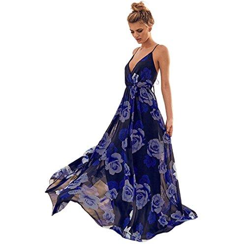 TIREOW Damen Lässige Blumendruck Schulterfrei Ärmelloses Schlinge Kleider Elegant Cocktailkleid...