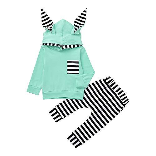 Huihong Neugeborenes Baby Jungen Mädchen 3D Bunny Ohr Gestreift Hoodie T Shirt Tops + Hosen 2 Pcs Lustiges Kleidungsset (Minzgrün, 6-12 Monate - Weißen Bunny Kostüm