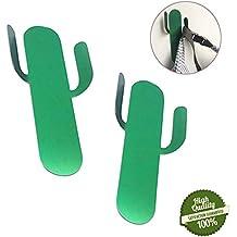Lindo Ganchos Adhesivos, Morbuy 2 Piezas Cactus Inoxidable Toallero Perchero Pared Cocina Baño 3M Autoadhesivo