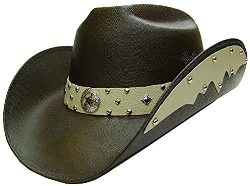 4e3179edf Modestone Unisex Chapeaux Cowboy Side Brim Leather Look Appliques Brown
