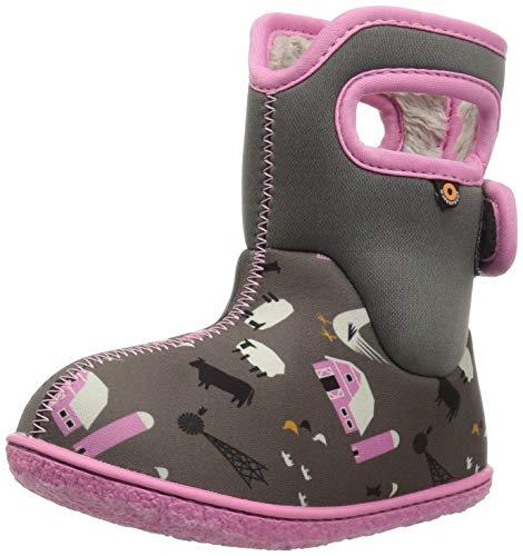 Bild von Bogs Girls Baby Farm Grey/PINK Insulated Washable WARM Wellies Boots 722981-UK 5 (EU 22)