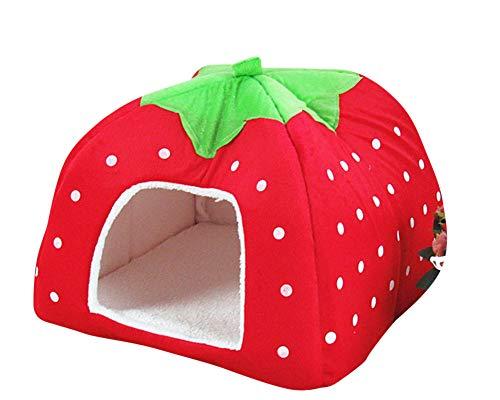 GUOCU Rote Erdbeere Haustierhaus Luxuriöses Weich Schlafsack Hundehütte Katzenhöhle Hund Katze Haus für Kleine Hunde und Katzen Rot XL