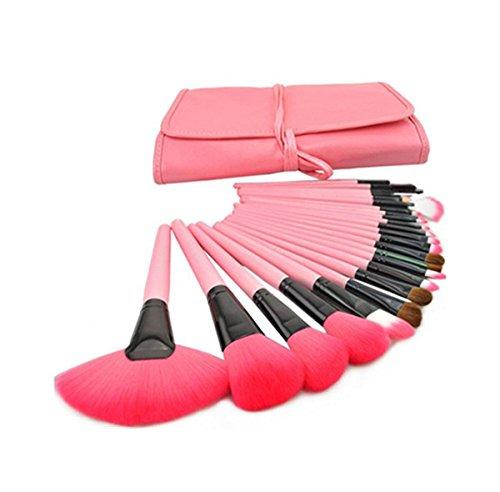 Incendemme Pinselset Schminkpinsel Kosmetikpinsel Puderpinsel Make Up Werkezug mit eine Tasche (24pcs. Rosa) (Kabuki Karneval Kostüm)