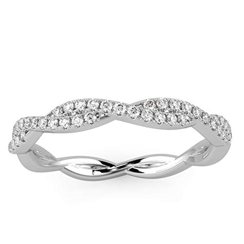 1/3 Carat Twisted Round Diamond Half Eternity Ring in White Gold Size O