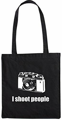 Mister Merchandise Tasche I Shoot People Kamera Cam Camera Fotograf Stofftasche , Farbe: Schwarz Schwarz