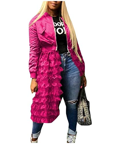 Womens V-neck Argyle Pullover (CuteRose Womens Fashionable Patchwork Solid Colored Coat Mid Long Cardigan Rose Red XS)