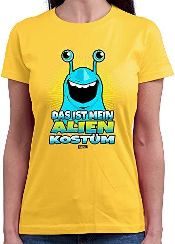 HARIZ  Damen T-Shirt Rundhals Das Ist Mein Alien Kostüm 2 Karneval Kostüm Plus Geschenkkarten Gold Gelb M