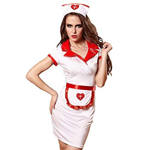 Bekleidung & Schuhe für Modepuppen Sex Krankenschwester Kostüme Kleid Frauen Teddy Dessous Sexy Hot Erotic Spiel Cosplay Krankenschwester Uniform V-Ausschnitt Babydoll Kleid Halloween Cosplay @ - Nacht Wind Kostüm