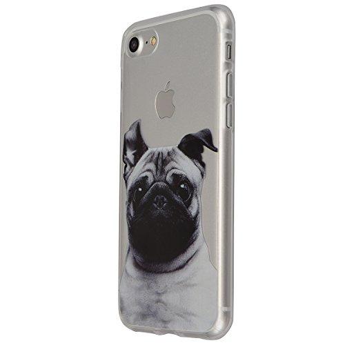 "VemMore Coque pour iPhone 7 4.7"" Transparente avec Motif Ultra Fine Slim Silicone Gel Bumper TPU Souple Etui Housse Case Cover pour iPhone 7 - Attrape Reve Chien"