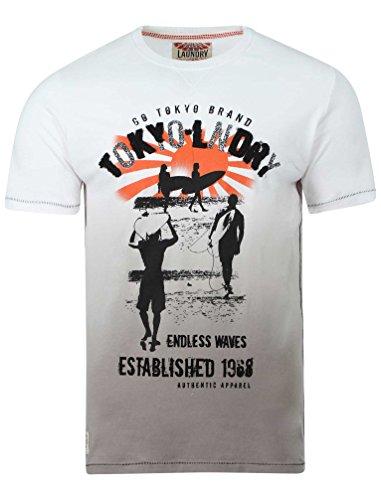 Tokyo Laundry Herren Endlose Grafik Druck T-Shirt Größen S- XL Weiß