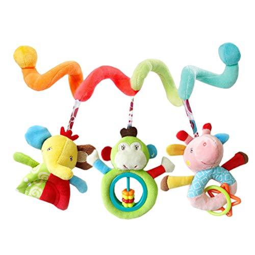 TOYANDONA Kinderwagenspielzeug Baby mit Elefant AFFE Giraffe Rassel Beißring Mobile Kette Krippe Bett Auto Sitz Hänge Spielzeug - Baby-affe-autositz Kinderwagen Und