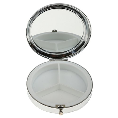 Stilvolle Kompakte Runde Metall Pille Kastenkasten Organisator 3 Fach - Metall-kompakt-spiegel