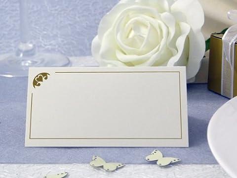 50x Tischkarten Hochzeit EinsSein® Herz Stück gold Hochzeit, Tischkarten, Platzkarten, Namenskarten, Herz Schmetterling Stuhl Rosen Ringe